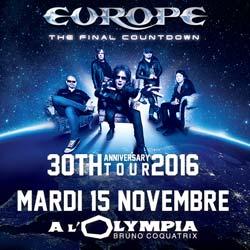 Europe en concert à l'Olympia le 15 novembre 2016 5