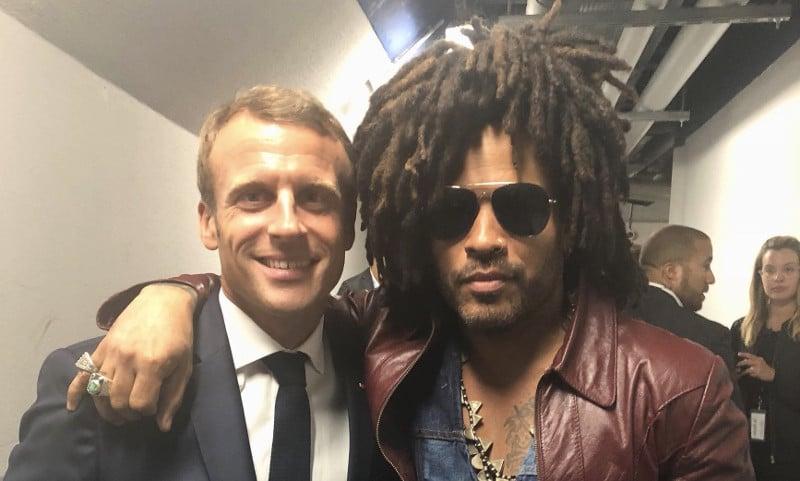 Lenny Kravitz et Emmanuel Macron se sont rencontrés pour une photo improbable