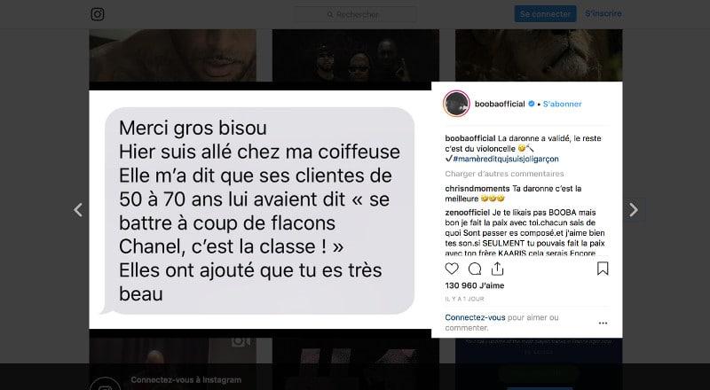 Le rappeur Booba a publié ce vendredi sur Instagram un tendre message de soutien adressé par sa daronne