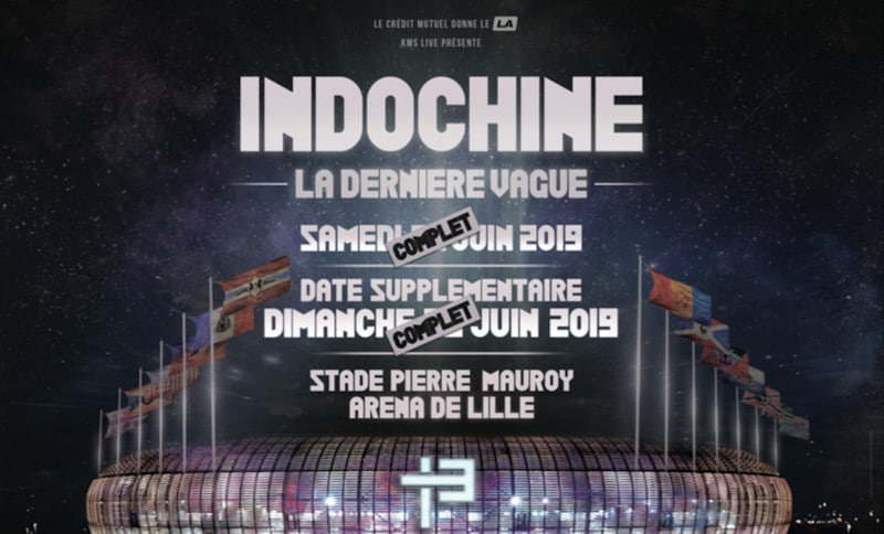Indochine annonce une date supplémentaire au Stade Pierre Mauroy